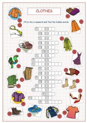English Worksheet: Clothes Crossword Puzzle