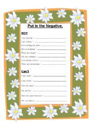 English Worksheet: Negative