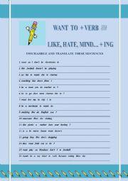 English Worksheet: Want to + verb(infinitive)/// Like + verb  ing(gerund)