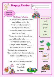 English Worksheet: Mr Bunny�s Letter