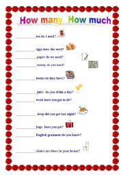 English Worksheets: how many how much