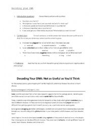 English Worksheets: Decoding your DNA