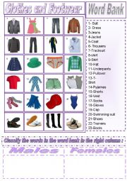 English Worksheet: Clothes and footwear Pictionary