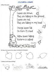 English Worksheets: Autumn poem