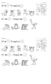 English Worksheets: it�s a/ it isn�t a with animals