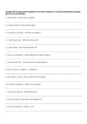 English Worksheets: Indirect Questions (40 Questions)
