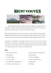 English Worksheet: Volcanoes - Mount Vesuvius