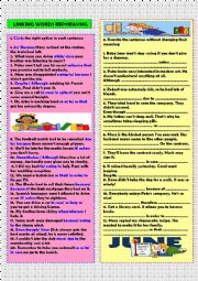 English Worksheet: Linking words rephrasing (+key)