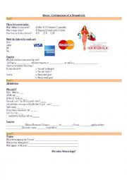 English Worksheet: Confessions of a Shopaholic movie workcheet