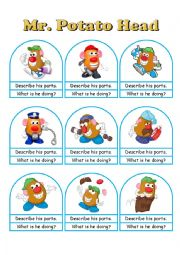 English Worksheet: Mr. Potato Head Conversation Cards A Die, Bookmarks and Worksheets Part 1 of 2