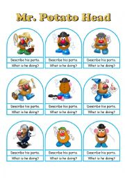 English Worksheet: Mr. Potato Head Conversation Cards A Die, Bookmarks and Worksheets Part 2