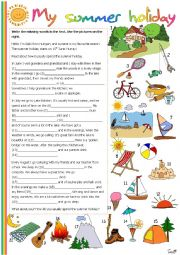 English Worksheet: My summer holiday