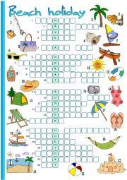 English Worksheet: Beach holiday