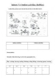 English Worksheet: Indoors Vs Outdoor activities (hobbies)