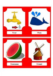 English Worksheet: Alphabet Words - W  (flash cards)