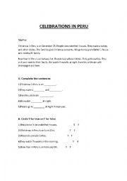 English Worksheet: CELEBRATIONS IN PERU