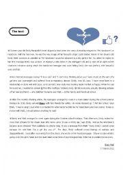 English Worksheet: full term tes 3 2nd form facebook addiction