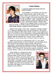 English Worksheets: Justin Bieber