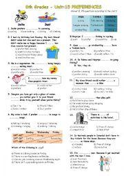 English Worksheet: would rather vs. prefer