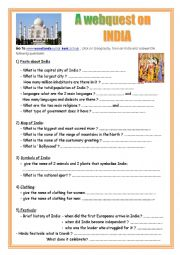 English Worksheet: a webquest on  India