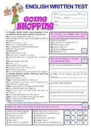 English Worksheet: GOING SHOPPING (Test - 7th grade) + key