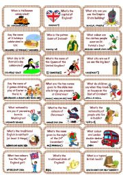 English Worksheet: American & British culture Game cards (set 1)
