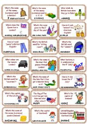 English Worksheet: American & British culture Game cards (set 2)