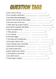 English teaching worksheets: Question tags