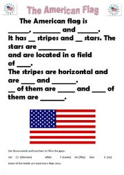 ESL worksheets for beginners: The American Flag