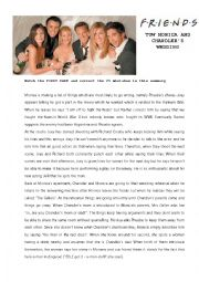 English Worksheet: FRIENDS tow Monica & Chandler�s Wedding + KEY!!!!