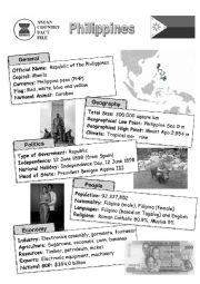 English Worksheet: ASEAN nations fact file - Philippines