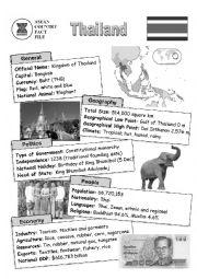 English Worksheet: ASEAN nations fact file - Thailand