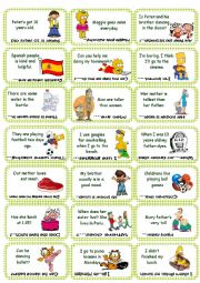 English Worksheet: Find the mistake game card set 1