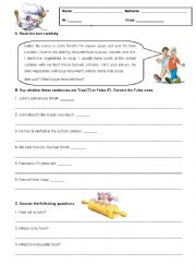English Worksheet: 5th Grade Test about Food
