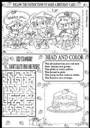English Worksheet: BIRTHDAY CARD