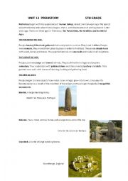 English Worksheet: prehistory
