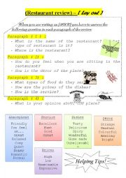 English Worksheet: restaurant review layout ( for writing)