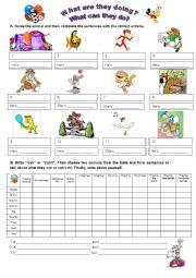 English Worksheet: ANIMALS & ACTIONS