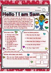 English Worksheet: Hello! I am Sam.