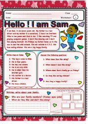 English Worksheet: Hello! I am Sam.