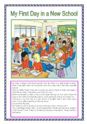 English Worksheet: My first day at a new school