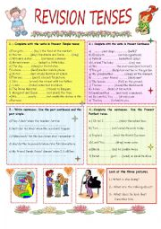 English Worksheet: REVISION TENSES