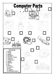 English teaching worksheets: Computer parts