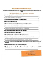 English Worksheets: Adverbs with a Negative Meaning / Inversions of Adverbs