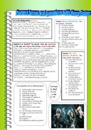 English Worksheets: Present tense questions with Harry Potter