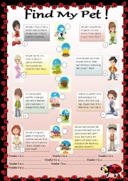 English Worksheets: Find My Pet!