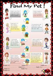 English Worksheet: Find My Pet!