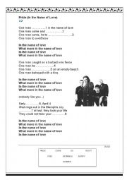 English Worksheets: Song: Pride by U2