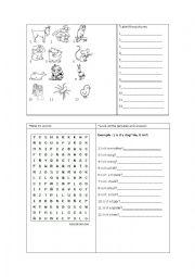English Worksheets: Animals Handout