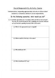 English Worksheets: Responsible Gambling scenarios worksheet